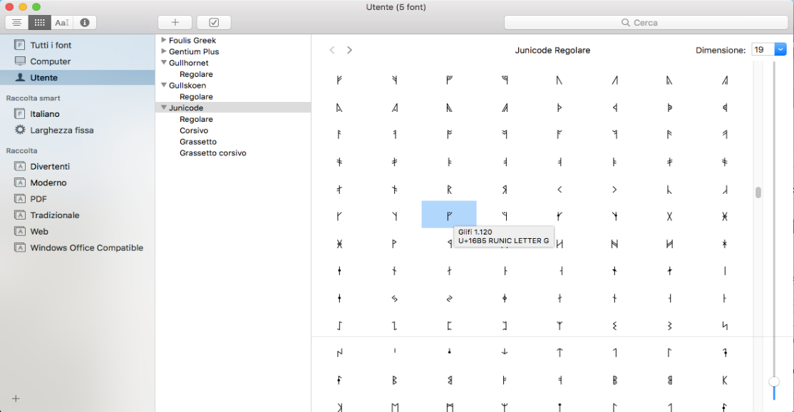 Junicode font in Font Book for Mac.