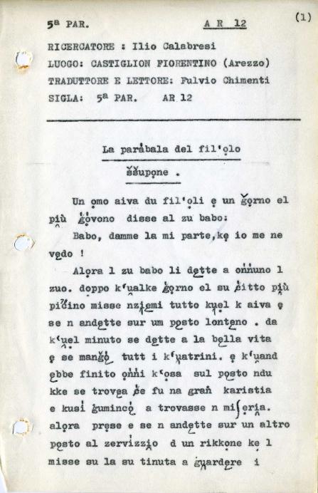 "Example of 'historic' accompanying material from Archivio ""Carta dei Dialetti Italiani""."