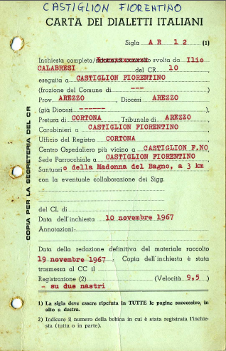 """Example of 'interpretative' accompanying material from Archivio """"Carta dei Dialetti Italiani""""."""