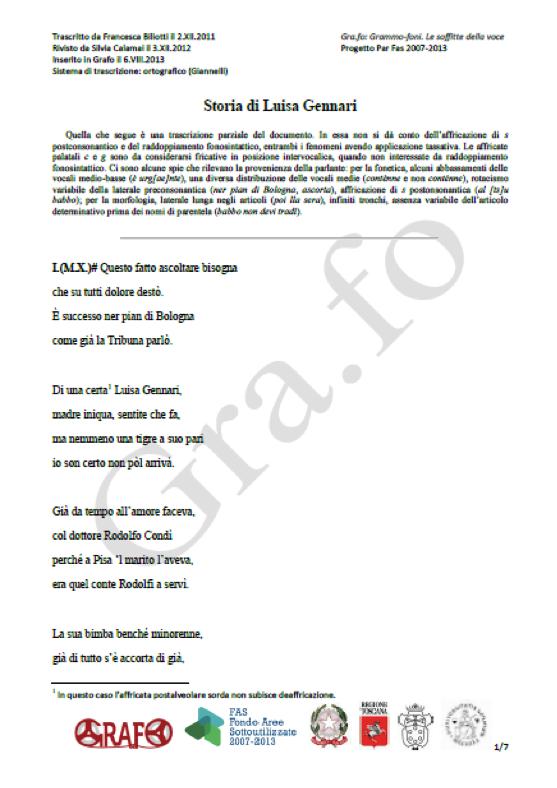 """Example of an orthographic transcription of a narrative song from Archivio """"Roberta Beccari"""", fondo """"Letteratura popolare""""."""