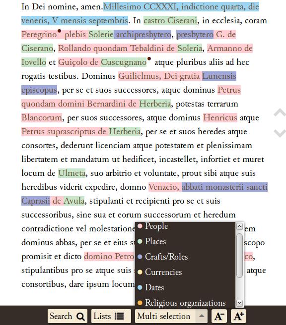 Evidenziazione di 'named entities' nel testo