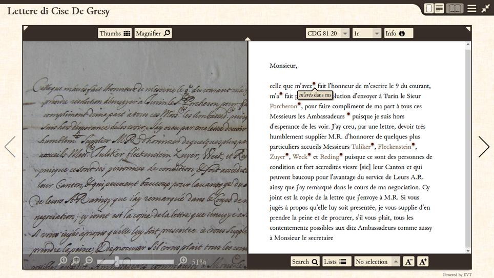 Visualizzazione del manoscritto e dell'edizione critica con la visualizzazione di note filologiche.