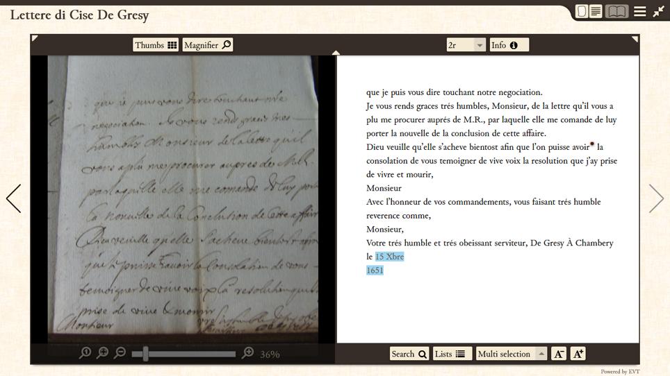 Visualizzazione del manoscritto e messa in evidenza nell'edizione critica delle date.