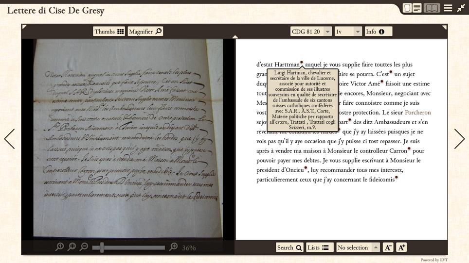 Visualizzazione del manoscritto e dell'edizione critica con la visualizzazione di note storiche (ex: biografia di un personaggio).