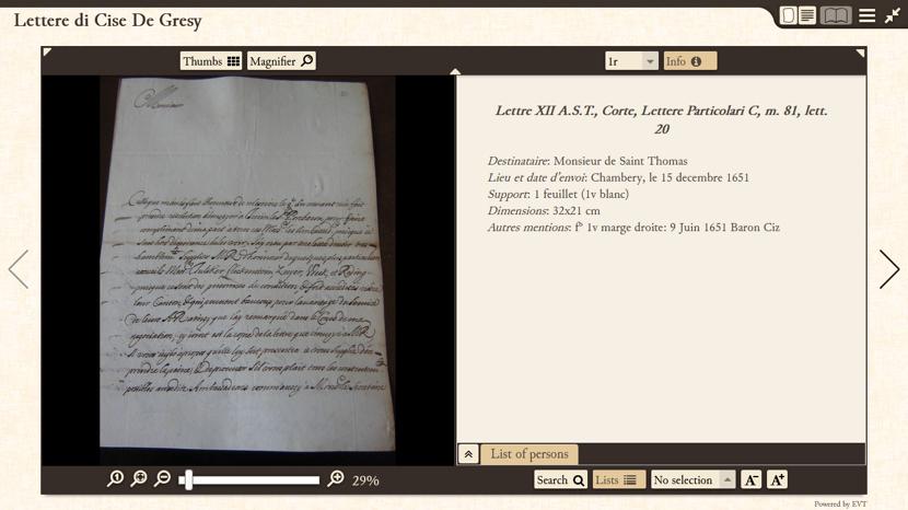 Visualizzazione del manoscritto e dell'edizione critica.