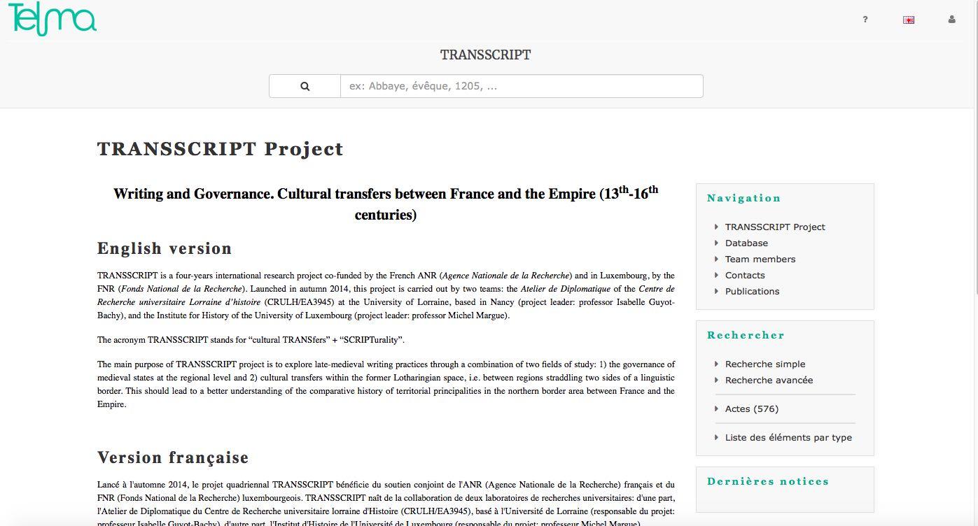 Home page del futuro database del progetto TRANSSCRIPT sul portale TELMA.
