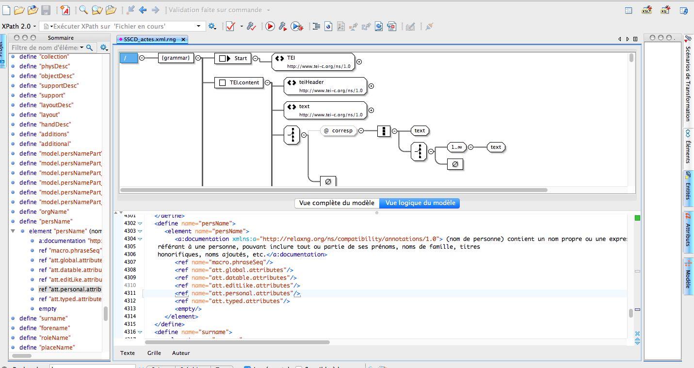 Esempio di file in formato RNG nell'editor Oxygen.