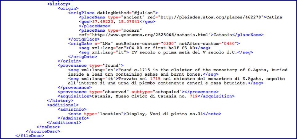 """Esempio di codifica con la presenza del tag <seg xml:lang="""""""">."""