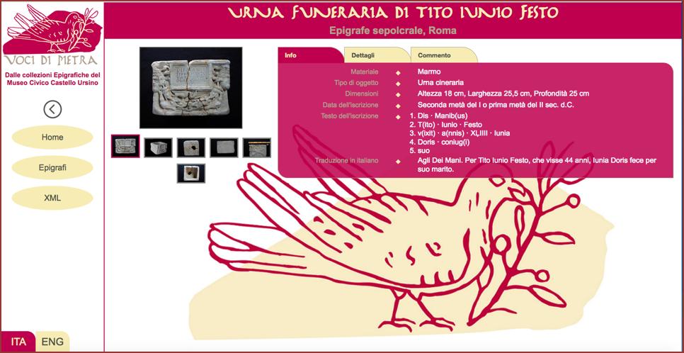 Schermata del chiosco multimediale con la scheda epigrafica di un'epigrafe.