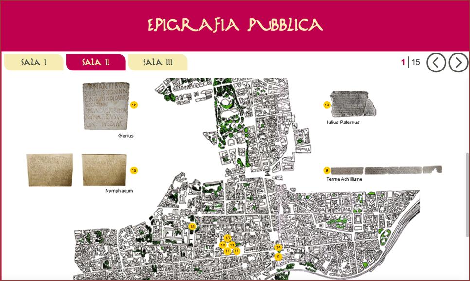 Schermata del chiosco multimediale con la localizzazione delle epigrafi sulla pianta di Catania.
