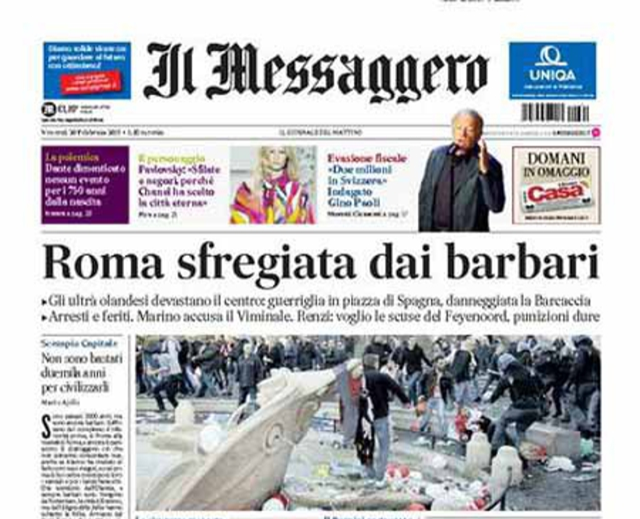 Front Page of Il Messaggero, 20 February 2015