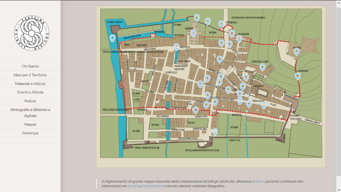 La pagina con la mappa digitale