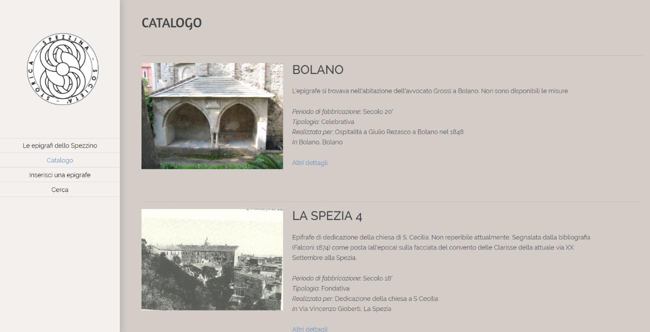 Catalogo del progetto