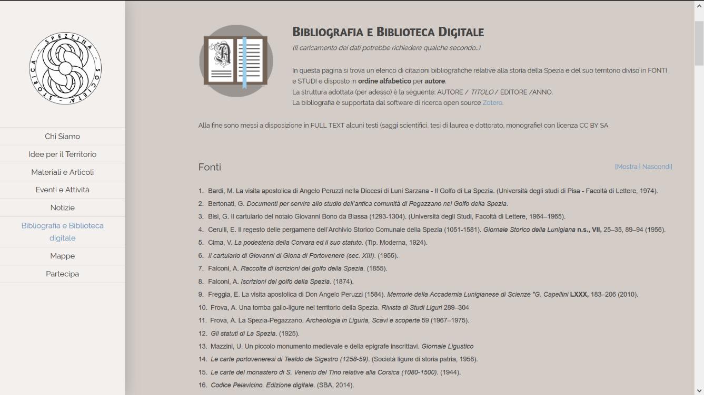 """La pagina """"Bibliografia e Biblioteca digitale"""""""