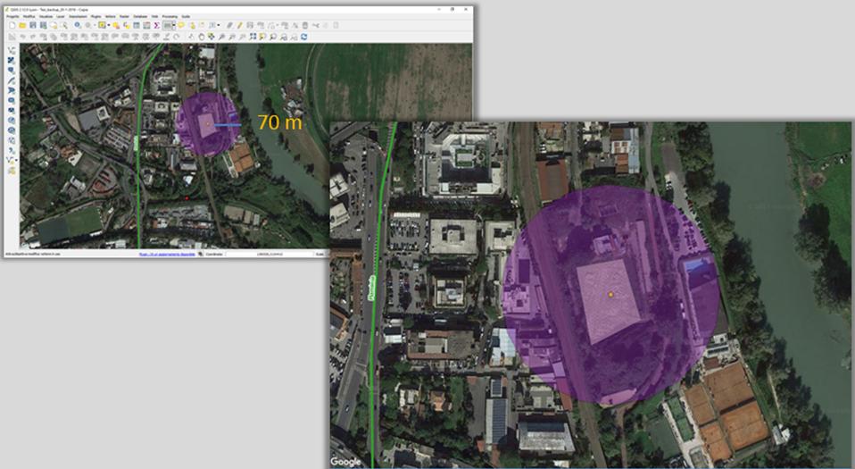Esempio di buffer effettuato sul GIS.