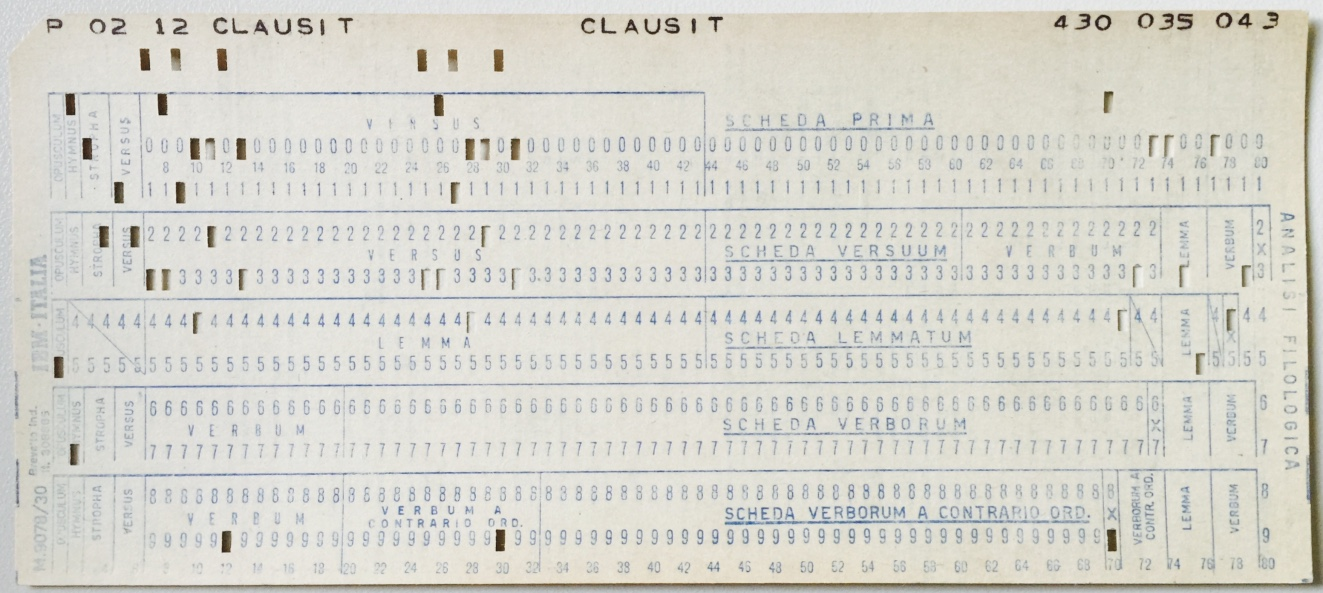 Punched Card from Index Thomisticus project
