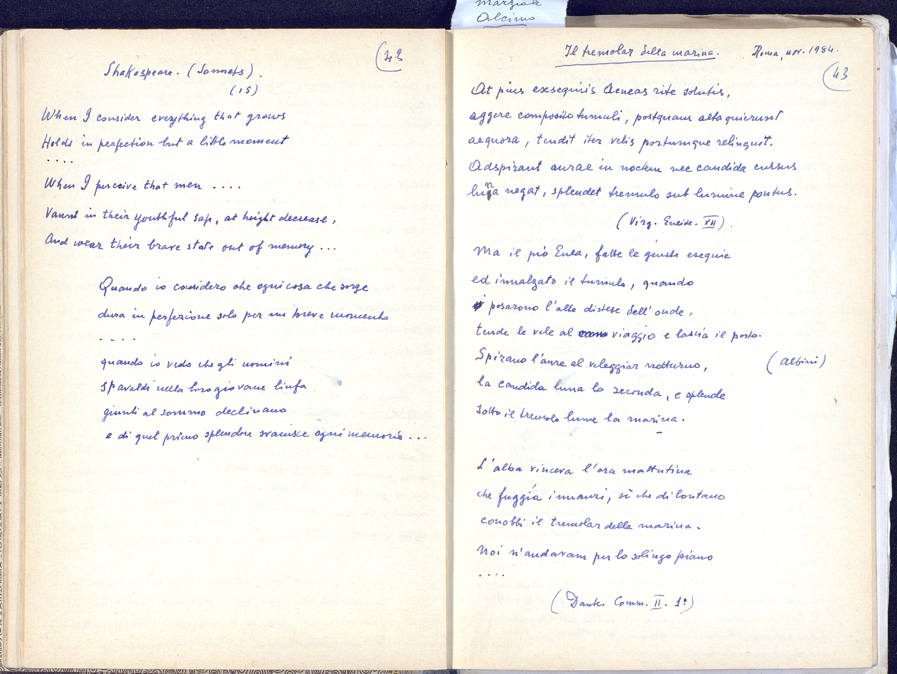 Facsimile delle pp. 43-44 del quaderno di Appunti di Paolo Bufalini.
