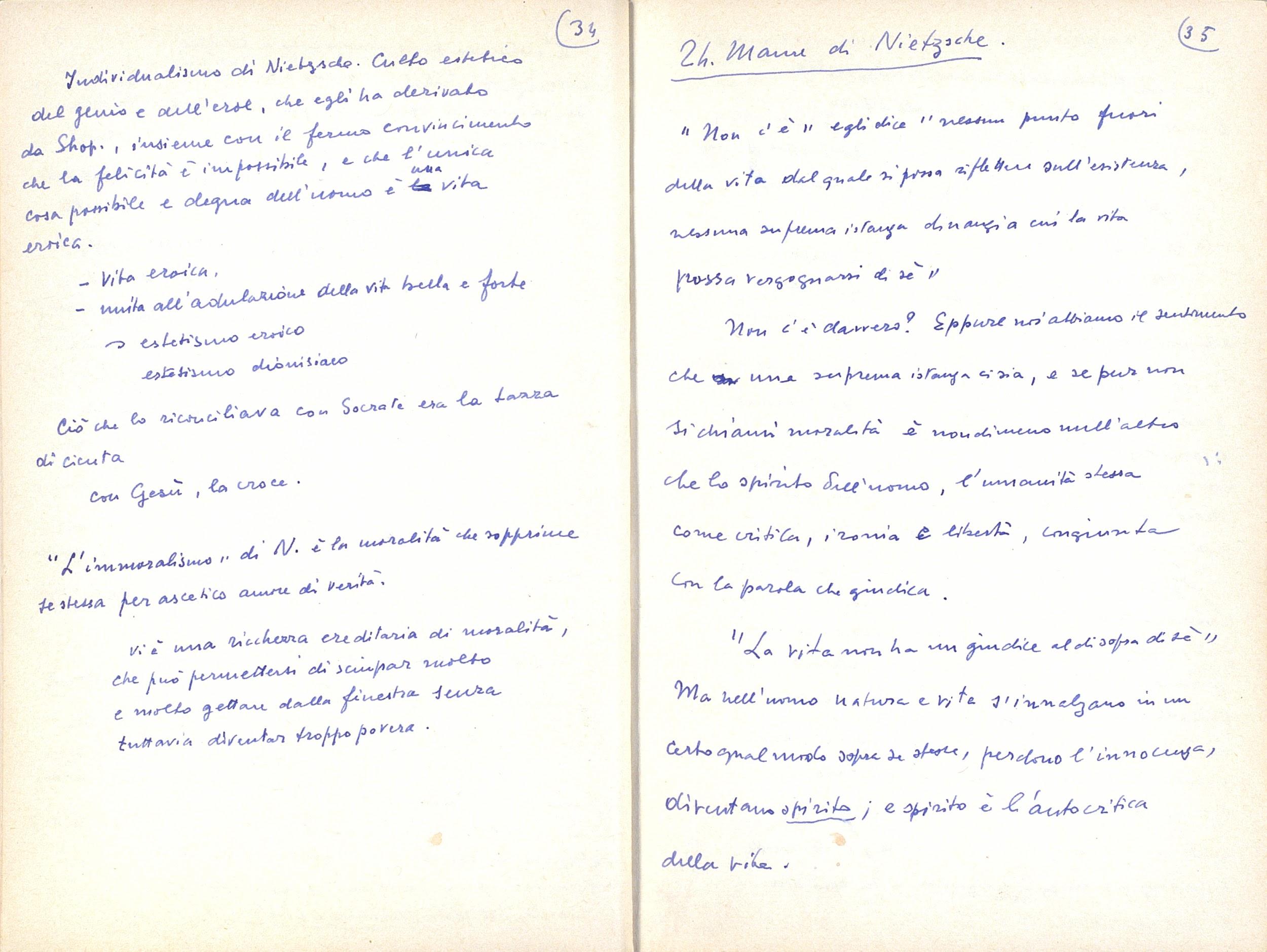 Facsimile delle pp. 34-35 del quaderno di Appunti di Paolo Bufalini.