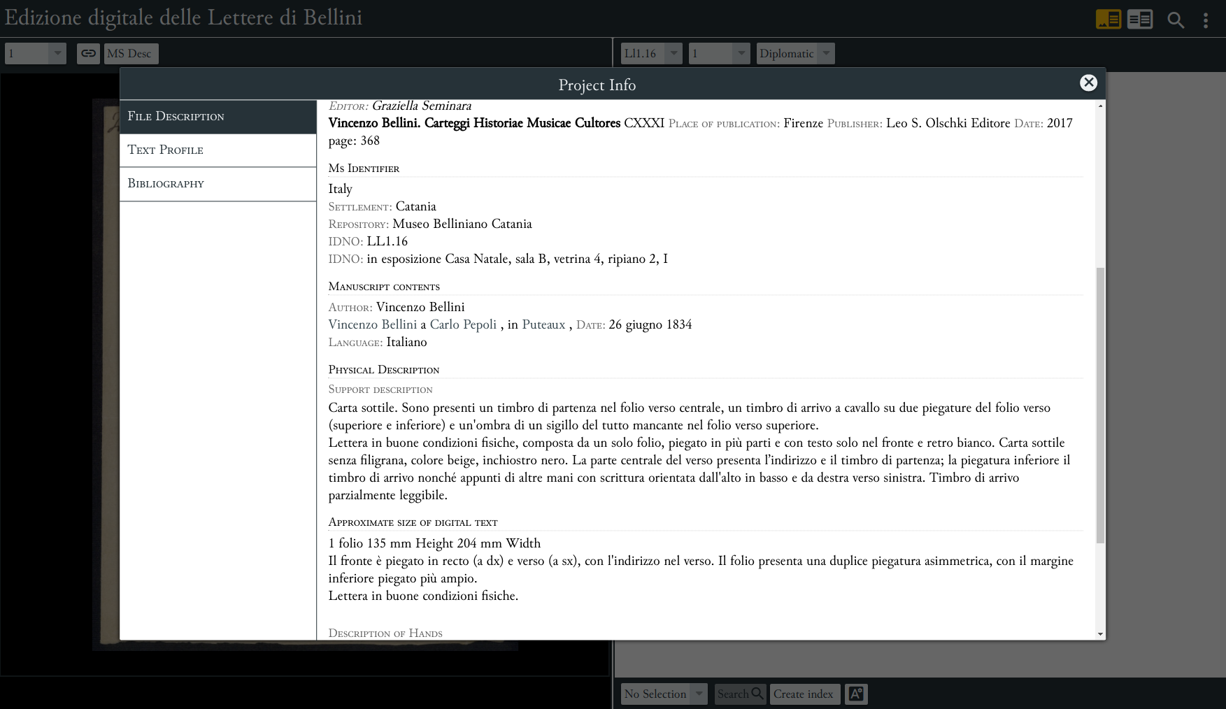 Current prototype concerning the Bellini's Correspondence Digital Edition: EVT.