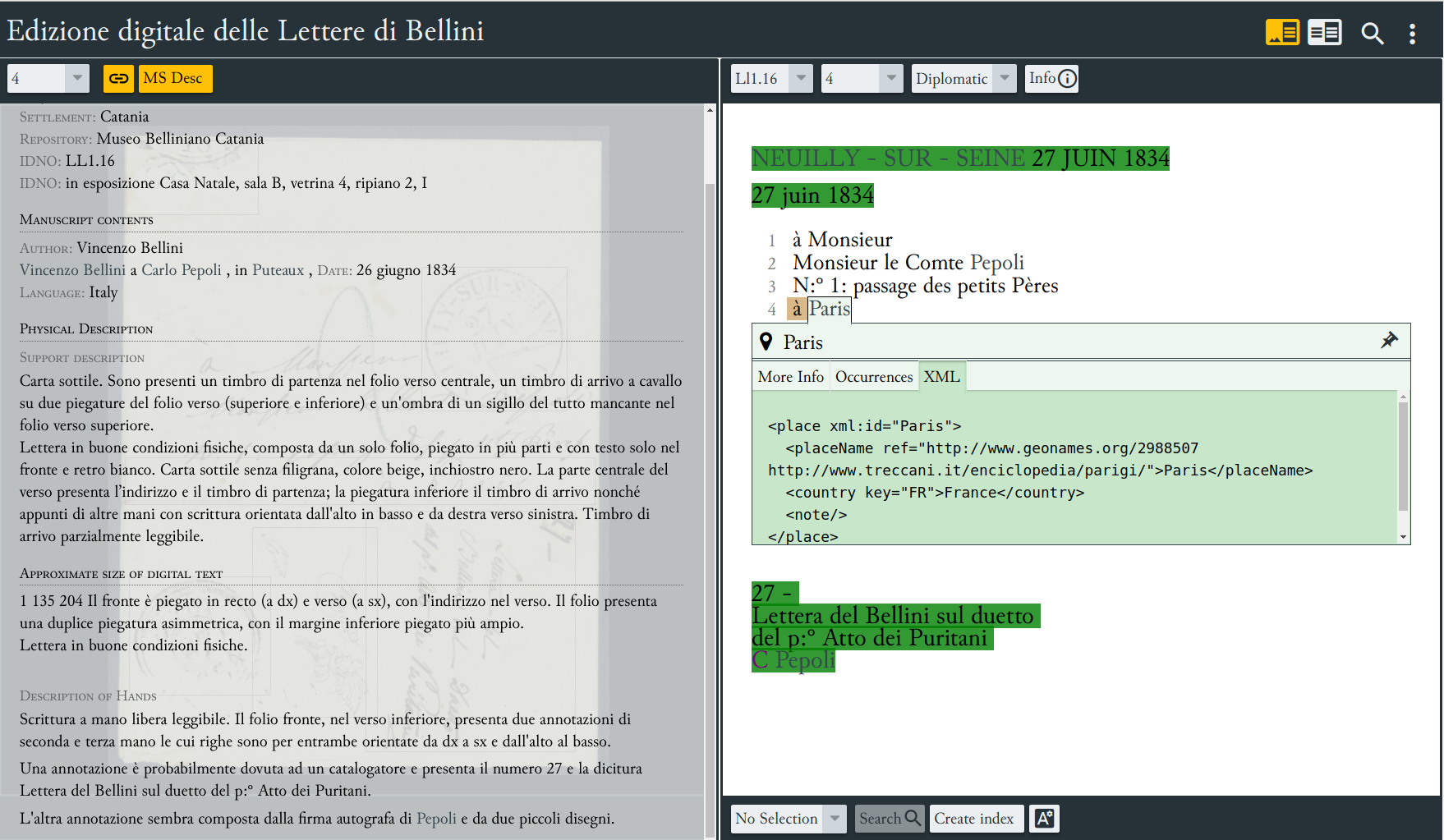 Manuscript description (left hand box) and the envelope information (right hand box).