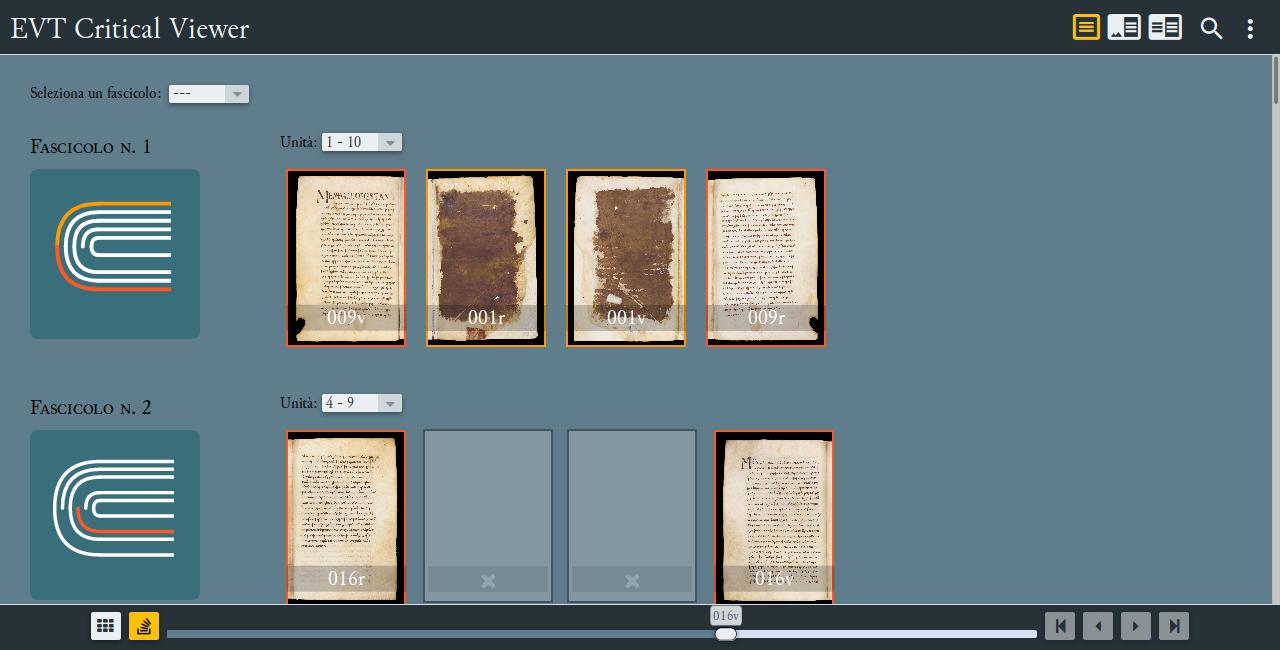 La struttura fascicolare del Vercelli Book visualizzata con VisColl in EVT 2, visibile anche la nuova barra di navigazione