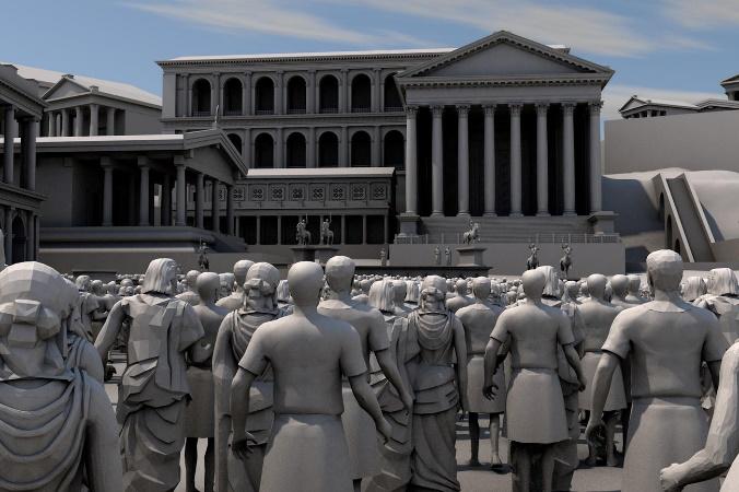 Foro dalla prospettiva dell'osservatore antico (© digitales-forum-romanum)