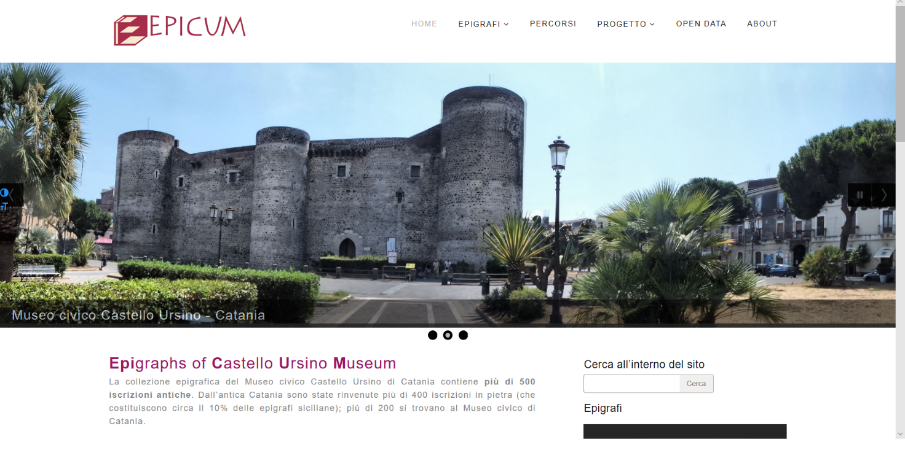 Front-end del museo digitale.