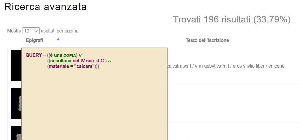 Visualizzazione/rappresentazione delle query di ricerca.