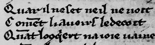 Testo esemplificativo del  in antico francese (Tours, Bibliothèque Municipale Ms. 941)