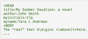 Il file di input del <teiHeader> secondo la sintassi Text::TEI::Markup