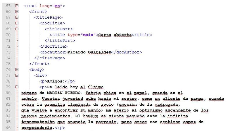 il body in TEIdown e la sua corrispettiva conversione XML-TEI